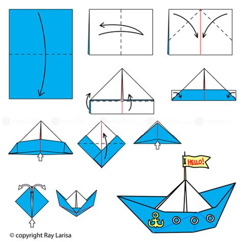 Paper Boat Steps - boat animated origami how to make origami
