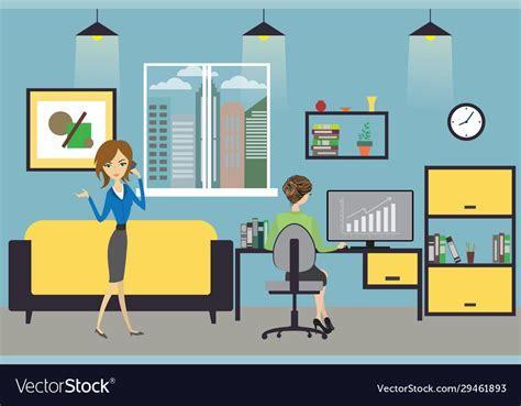 cartoon business woman working  home  modern vector image