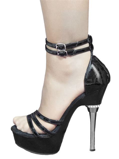 pleaser high heel sandals pleaser black patent chrome high heel sandals tout ensemble