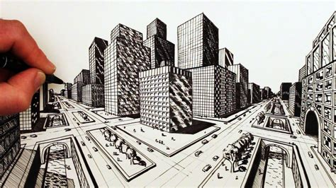 2 Point Perspective Drawing Cityscape by Two Point Perspective City Drawings Great Drawing