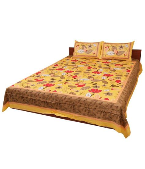 bed and pillow covers fulkari cotton double bed sheet with 2 pillow covers