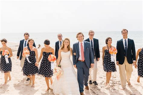 Coral and Navy Nautical Wedding   Junebug Weddings