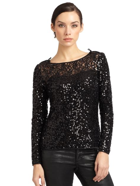 Squin Top Black Moles lyst notte by marchesa sequin sleeve top in black
