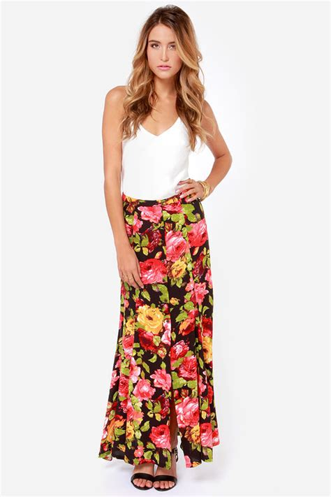 beautiful floral print skirt black skirt maxi skirt