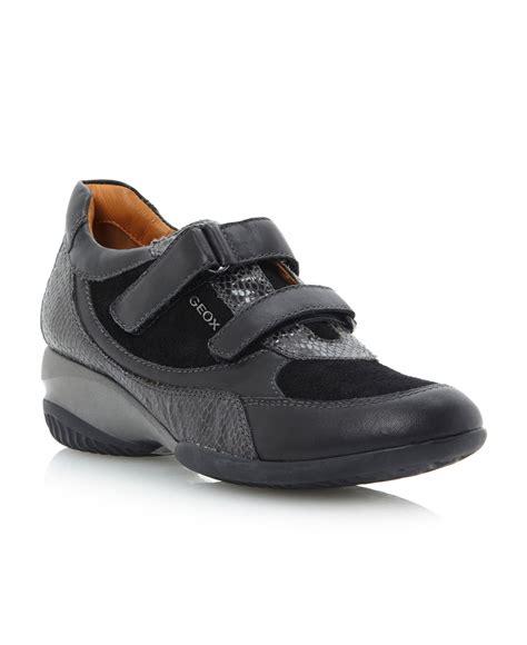 velcro wedge sneakers geox ada velcro wedge trainer shoes in black black