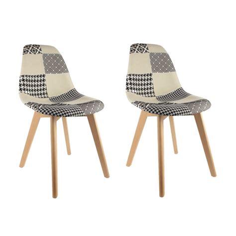 lot de 2 chaises pas cher au design scandinave patchwork
