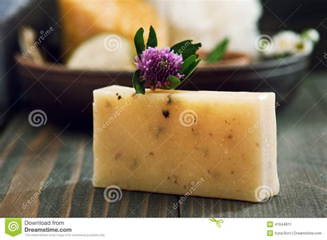 Handmade Spa Products - handmade soap closeup and spa products on background stock