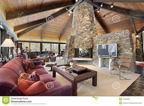wohnzimmer mit steinkamin stockfotografie bild 10926302 - Wohnzimmer Mit Steinkamin