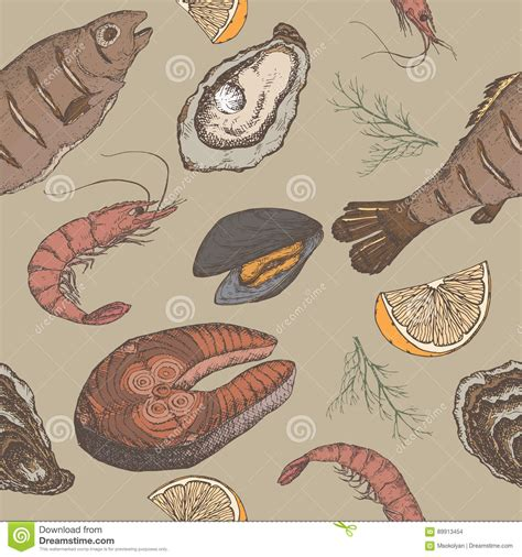 seamless pattern hand drawn seafood hand drawn seafood vector color seamless pattern stock