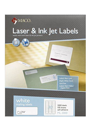 maco laser and inkjet labels template maco laser ink jet white address labels 1 x 2 5 8 inches
