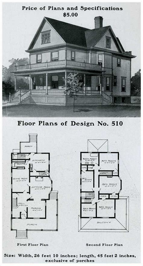 214 Best Vintage House Plans 1900s Images On Pinterest 1900 Era House Plans