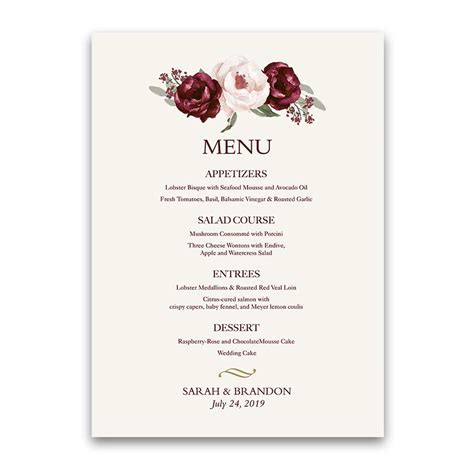 Wine And Gold Template Wedding Invitation Card Sle by Fall Wedding Menu Burgundy Wine Gold Blush Floral