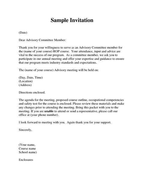 Invitation Letter To Conference how to write a formal invitation letter for a meeting