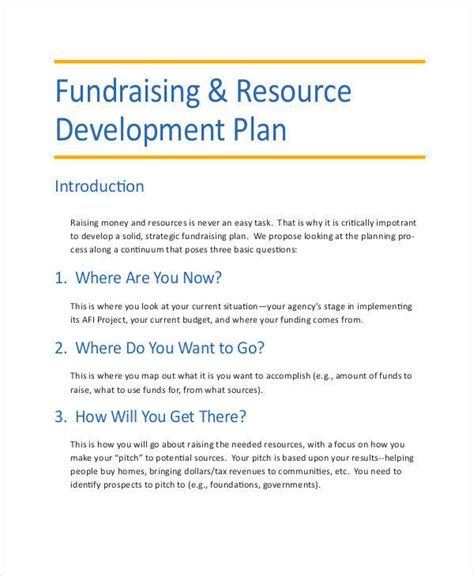 fundraising business plan template 6 development plan templates free sle exle