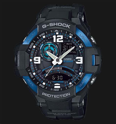 Jam Tangan Pria Wanita Gshock Ga 1000 Pilot Blue Black casio g shock gravitymaster ga 1000 2bdr g aviation sensor digital compass black resin