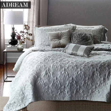 grey coverlet queen aliexpress com buy adream faux silk cotton bedspread