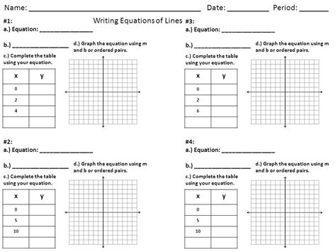 graphing linear equations using a table worksheet the best