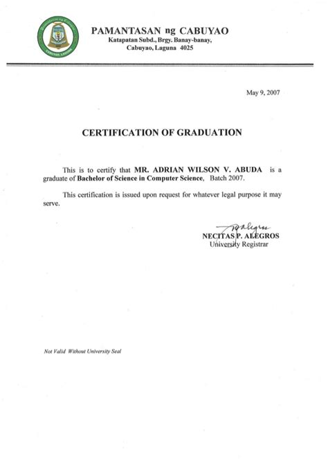 certification letter for graduation certificate of graduation college
