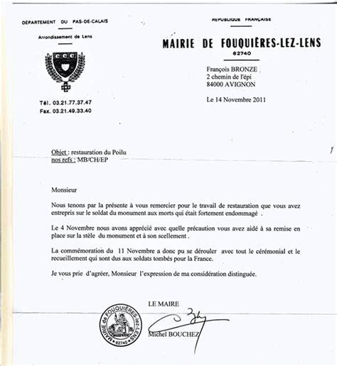 Lettre De Remerciement Don modele de lettre de remerciement pour le maire