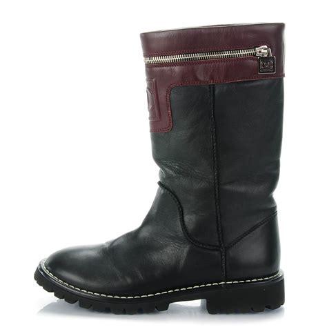 Boot Zipper Marron chanel calfskin motorcycle zipper boots 37 5 black