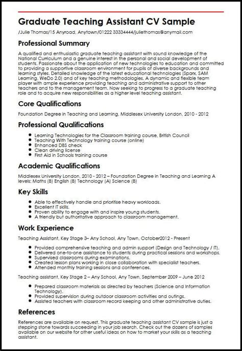 graduate school curriculum vitae template graduate teaching assistant cv sle myperfectcv