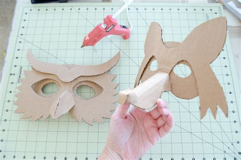 diy cardboard animal masks for halloween project nursery