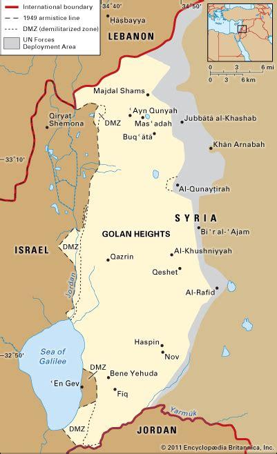 middle east map golan heights golan heights encyclopedia children s homework