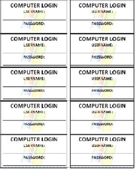 computer login cards by tech teachers pay teachers