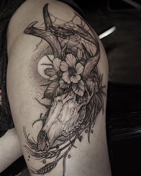 amazing deer skull danielbaczewski beauty tattoo