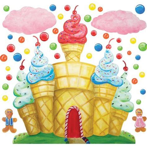 cotton candy land castle clouds wall decals instant murals