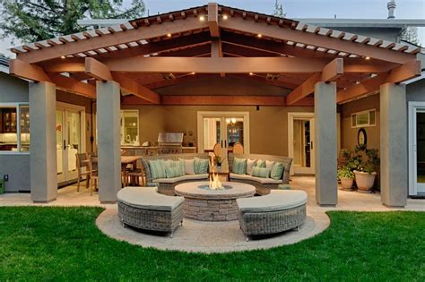 Covered Patio Roof Designs Pool Craftsman With Yellow Stucco Patio Cover Designs