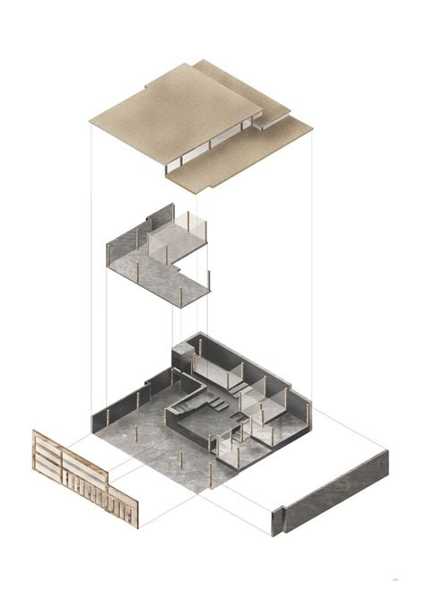 House Design Inspiration by Architecture Bsc Stage 2 Exploded Axonometric