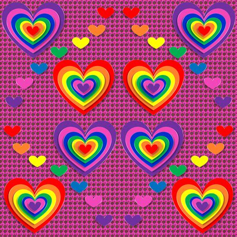 Hearts And Stars Kitchen Collection rainbow love hearts pattern free wallpaper