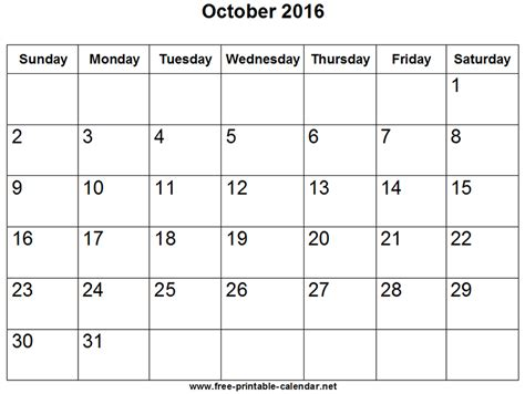 Calendar October 2016 October 2016 Holidays Calendar Template 2016