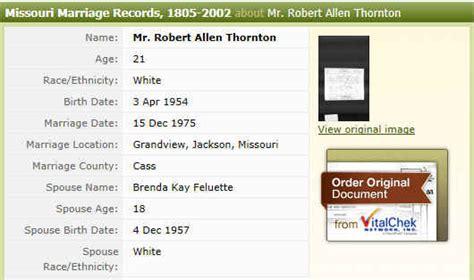 Missouri State Archives Marriage Records Robert Allen Thornton