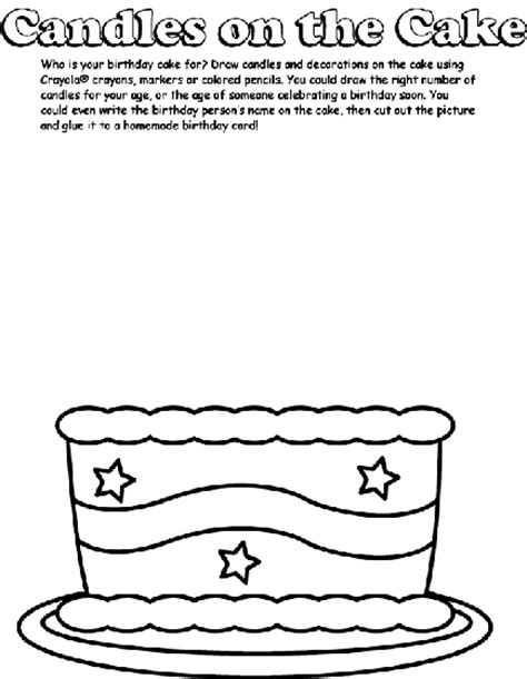 coloring pages cake with candles candles on the cake coloring page crayola com