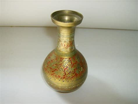 brass etched enamel vase made in india from marysmenagerie