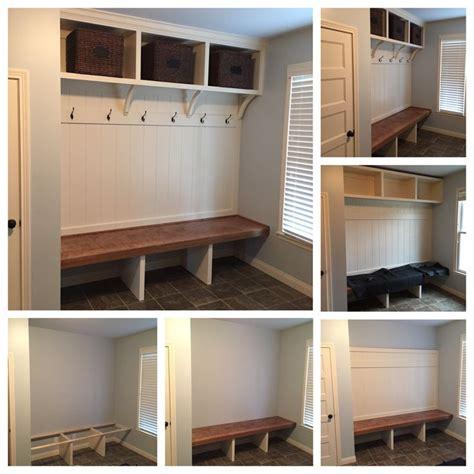 custom mudroom bench  open shoe storage open area