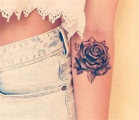rose tattoo for girl grey on left arm