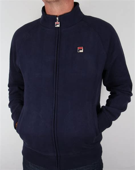 Hoodie Zipper Sweater Fila fila vintage sulden funnel sweatshirt navy zip up track jacket top