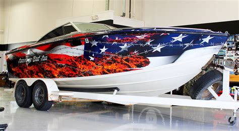 cool boat flags american flag vinyl boat wrap zilla wraps