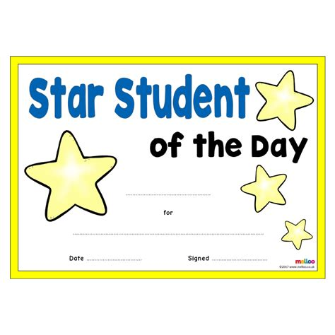 printable star of the day certificates star student certificates eyfs ks1 ks2