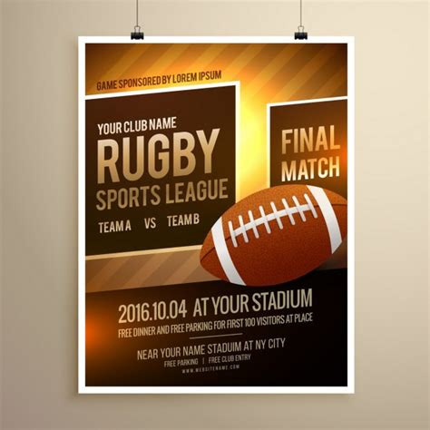 sports flyer template free rugby sports flyer template vector free