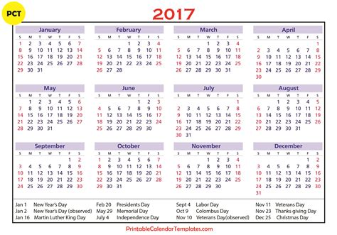 Calendar Template With Holidays 2017 calendar with holidays weekly calendar template