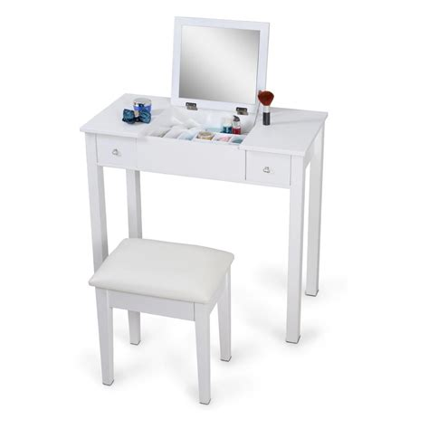 White Mirrorred Makeup Desk Vanity Table Cosmetics Storage White Makeup Desks