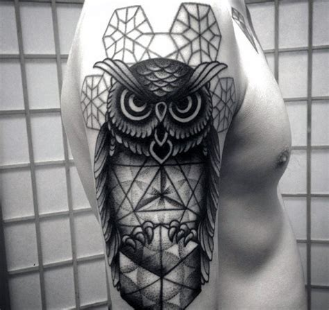 owl tattoo design arm manly geometric owl arm tattoo designs for men male