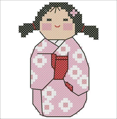 japanese pattern pdf items similar to haru spring kokeshi kawaii japan cross