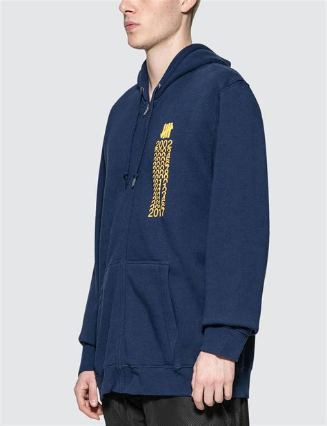 Jaket Zipper Hoodie Sweater Undefeated Logo lyst undefeated years zip hoodie in blue for