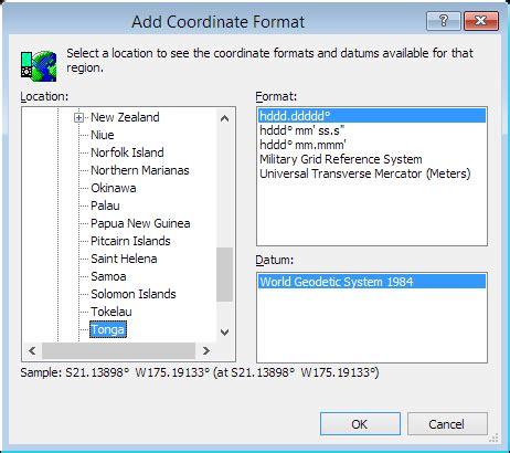 coordinates format converter convert tonga coordinates
