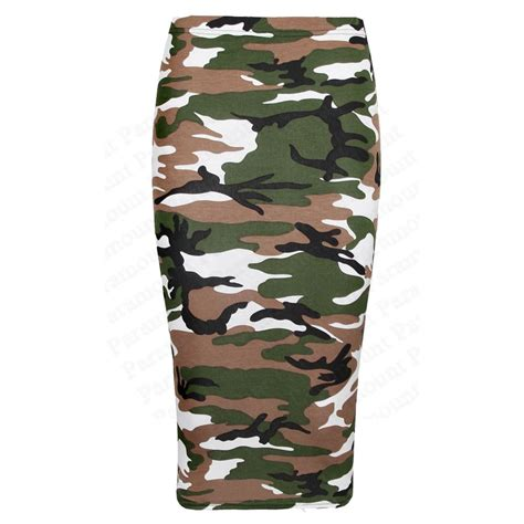 cross stripe camouflage print knee length bodycon stretch